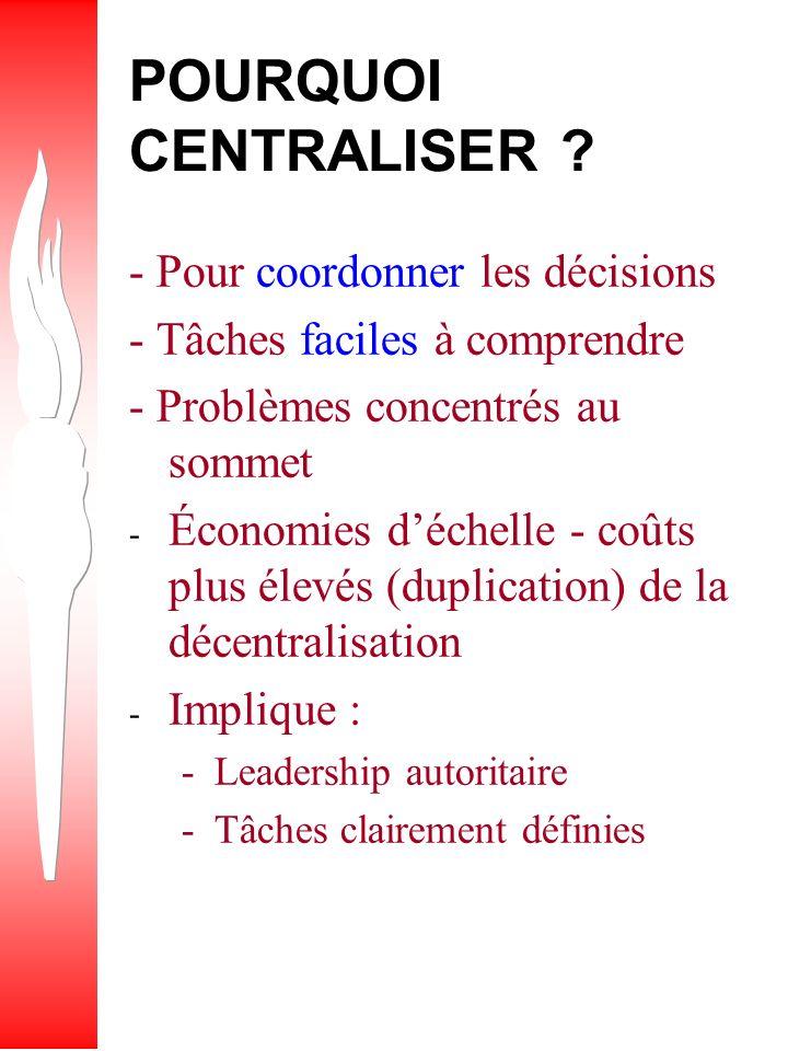 QUESTION Quels sont les avantages et les inconvénients de la centralisation et de la décentralisation ?