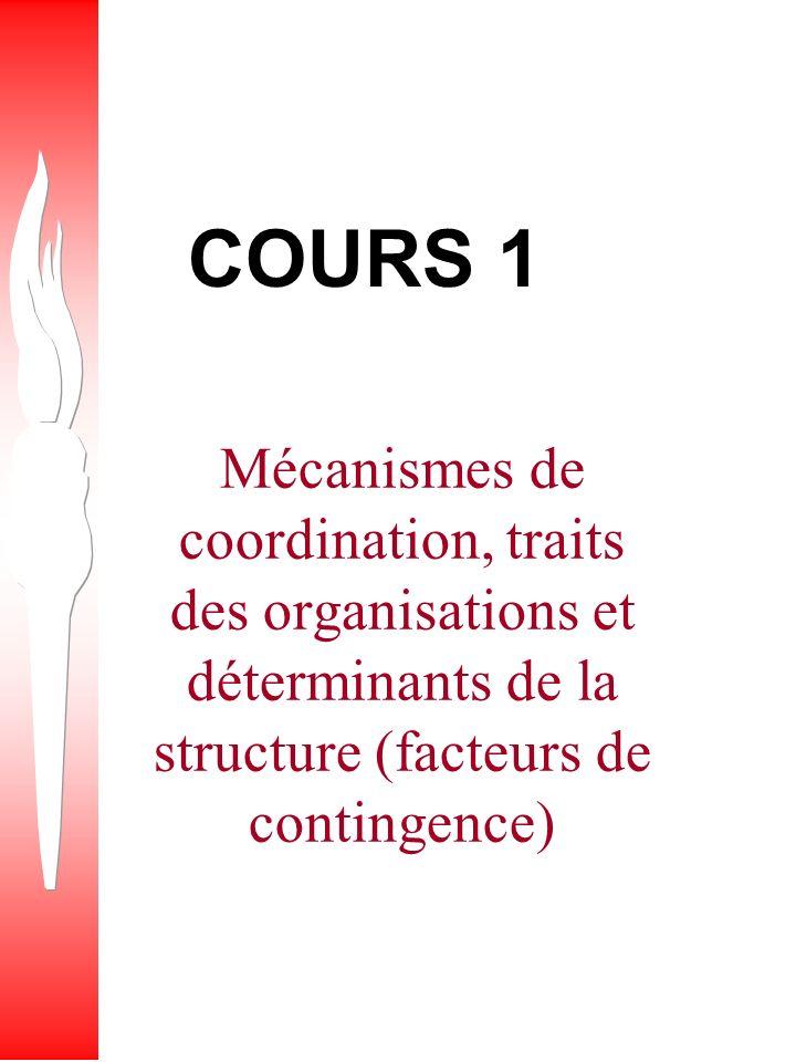 COURS 1 Mécanismes de coordination, traits des organisations et déterminants de la structure (facteurs de contingence)