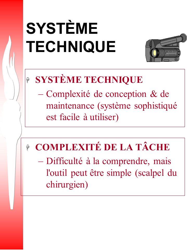QUESTION Quelle est la distinction entre une tâche complexe et un système technique sophistiqué ?