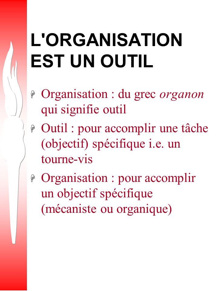 L ORGANISATION EST UN OUTIL H Organisation : du grec organon qui signifie outil H Outil : pour accomplir une tâche (objectif) spécifique i.e.