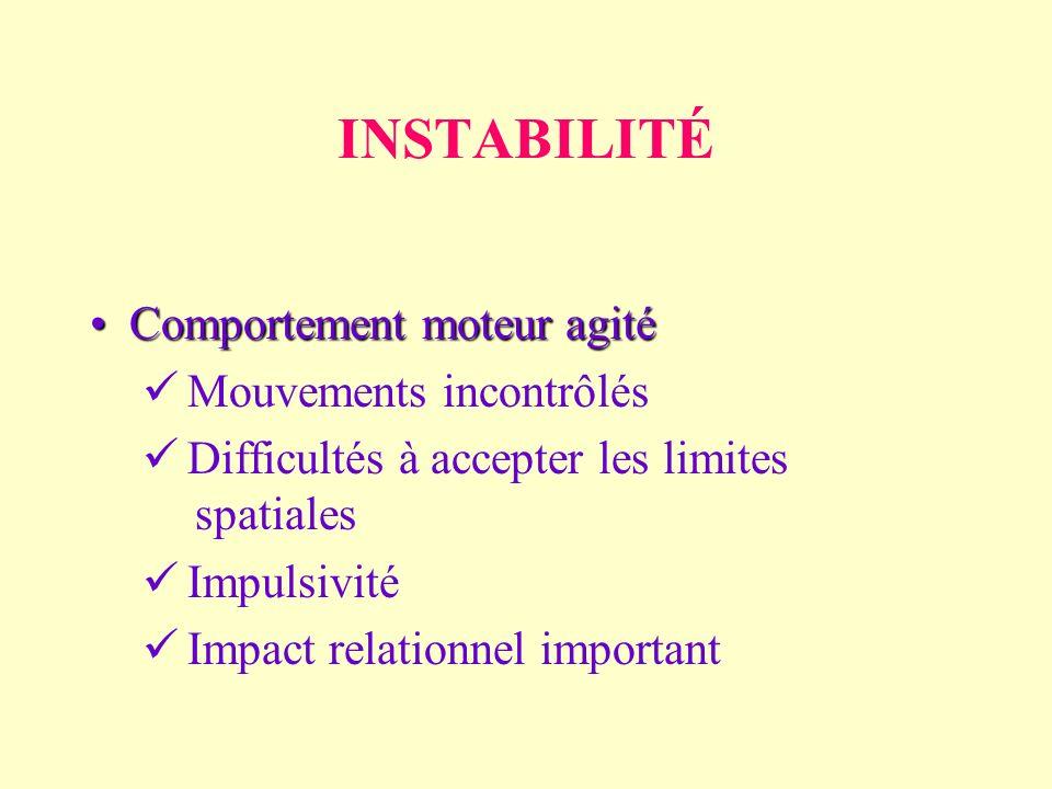 INSTABILITÉ Comportement moteur agitéComportement moteur agité Mouvements incontrôlés Difficultés à accepter les limites spatiales Impulsivité Impact relationnel important
