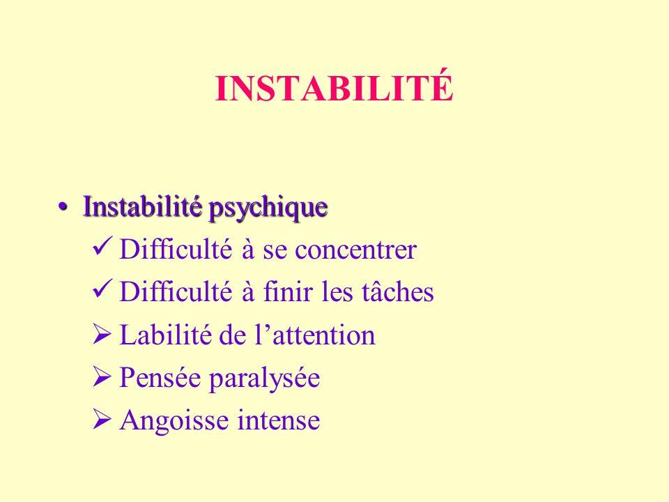 INSTABILITÉ Instabilité psychiqueInstabilité psychique Difficulté à se concentrer Difficulté à finir les tâches Labilité de lattention Pensée paralysée Angoisse intense
