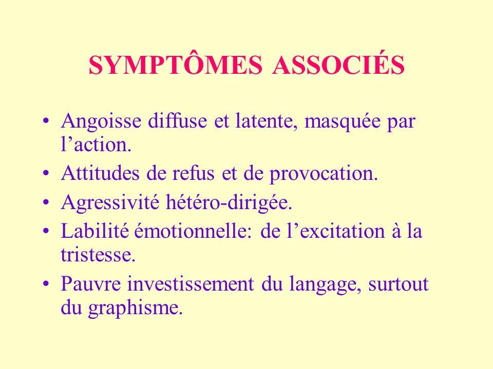 SYMPTÔMES ASSOCIÉS Angoisse diffuse et latente, masquée par laction.