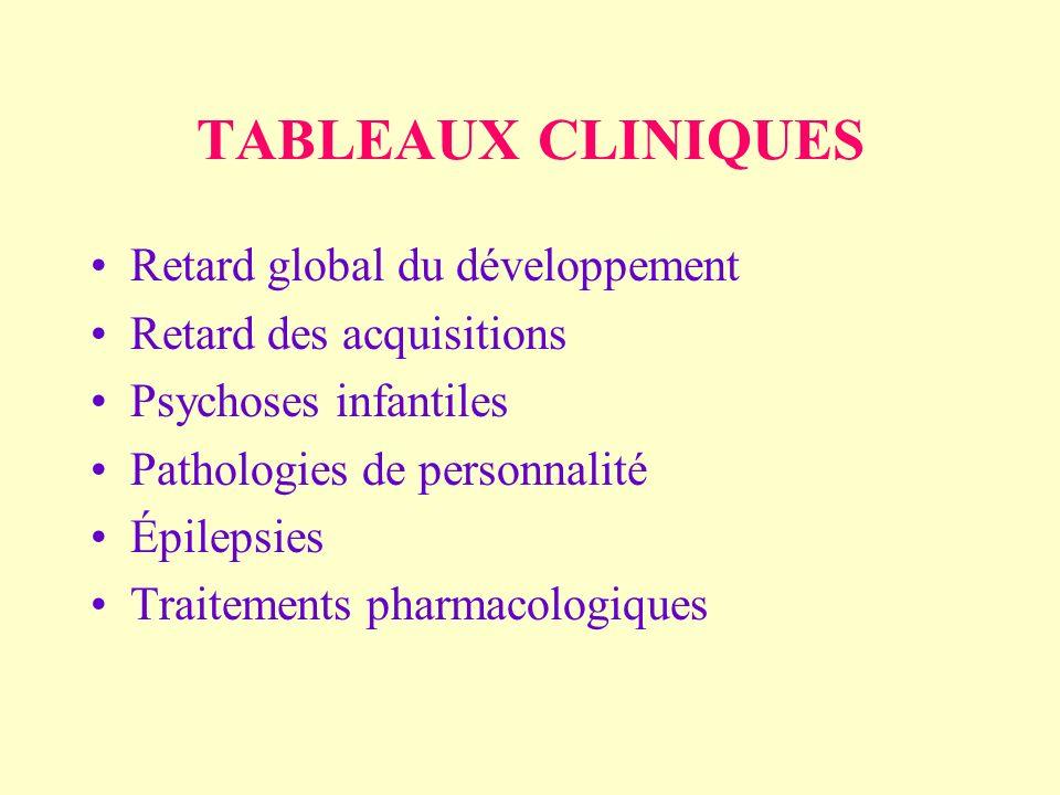 TABLEAUX CLINIQUES Retard global du développement Retard des acquisitions Psychoses infantiles Pathologies de personnalité Épilepsies Traitements pharmacologiques