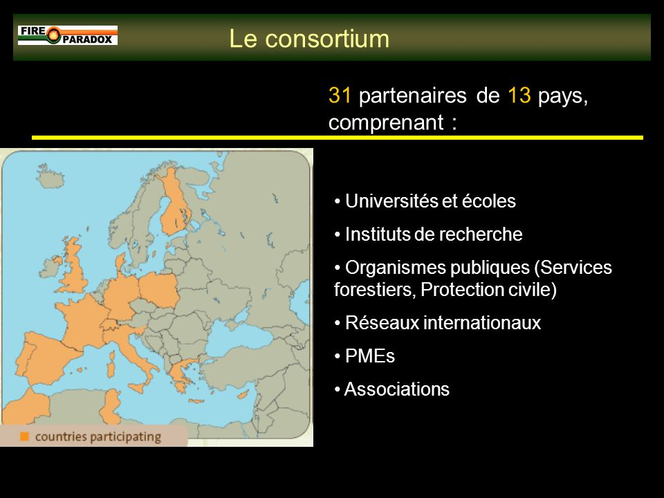 Le consortium 31 partenaires de 13 pays, comprenant : Universités et écoles Instituts de recherche Organismes publiques (Services forestiers, Protection civile) Réseaux internationaux PMEs Associations