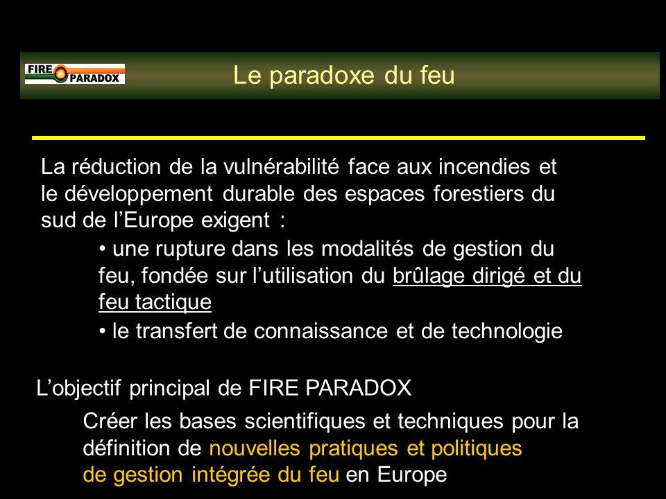 Le paradoxe du feu La réduction de la vulnérabilité face aux incendies et le développement durable des espaces forestiers du sud de lEurope exigent : une rupture dans les modalités de gestion du feu, fondée sur lutilisation du brûlage dirigé et du feu tactique le transfert de connaissance et de technologie Lobjectif principal de FIRE PARADOX Créer les bases scientifiques et techniques pour la définition de nouvelles pratiques et politiques de gestion intégrée du feu en Europe