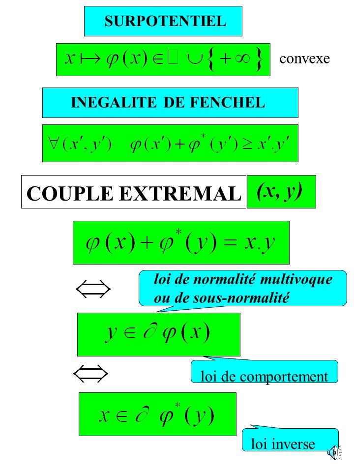 LOI DE COMPORTEMENT Loi de normalité univoque : POTENTIEL Loi de normalité multivoque : SURPOTENTIEL Loi non associée : BIPOTENTIEL