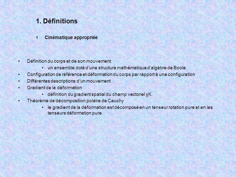 Définition du corps et de son mouvement: un ensemble doté dune structure mathématique dalgèbre de Boole Configuration de référence et déformation du c
