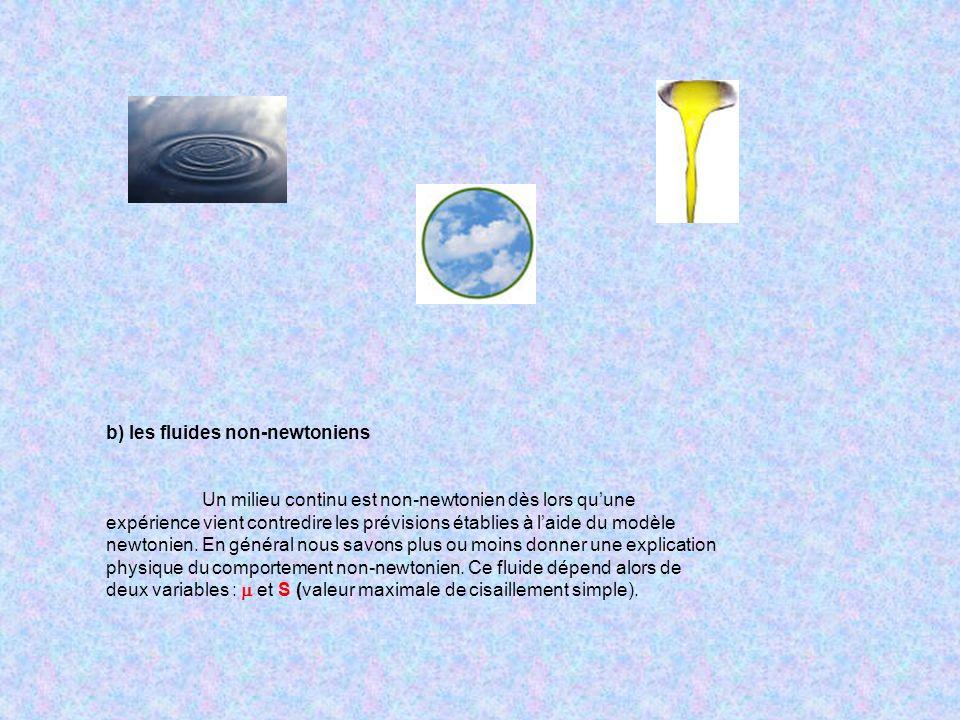 b) les fluides non-newtoniens Un milieu continu est non-newtonien dès lors quune expérience vient contredire les prévisions établies à laide du modèle