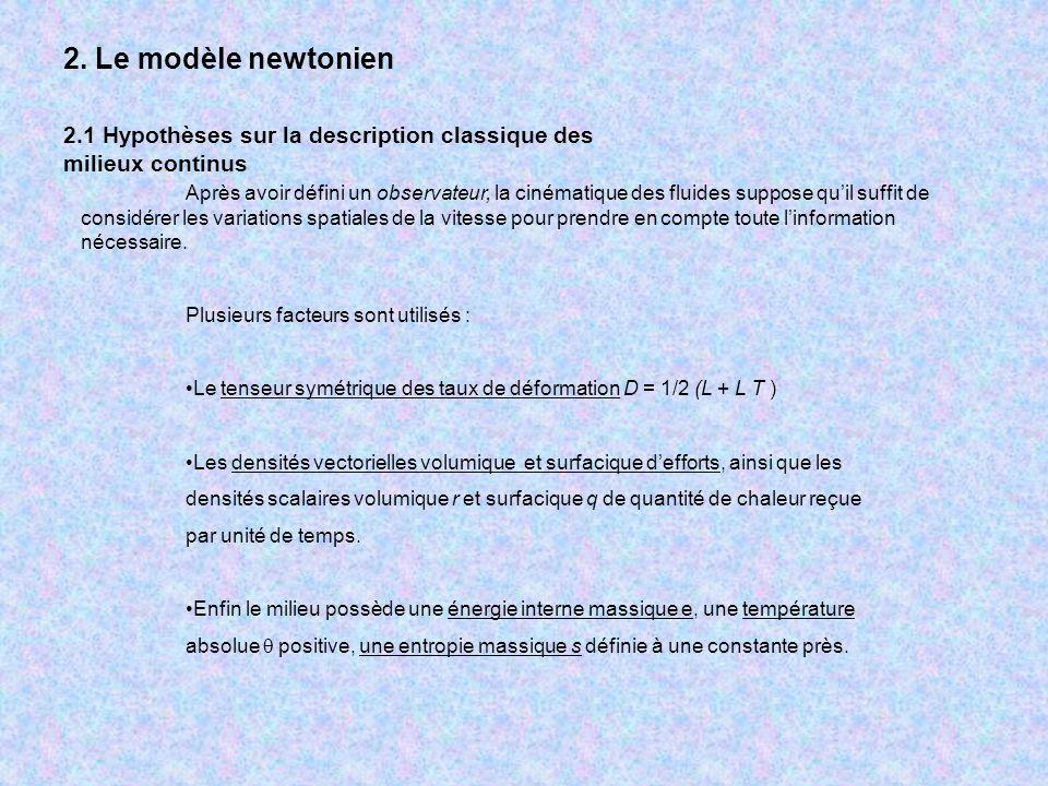2. Le modèle newtonien 2.1 Hypothèses sur la description classique des milieux continus Après avoir défini un observateur, la cinématique des fluides