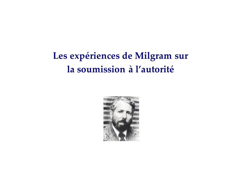 Les expériences de Milgram sur la soumission à lautorité