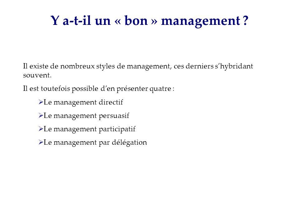 Y a-t-il un « bon » management ? Il existe de nombreux styles de management, ces derniers shybridant souvent. Il est toutefois possible den présenter
