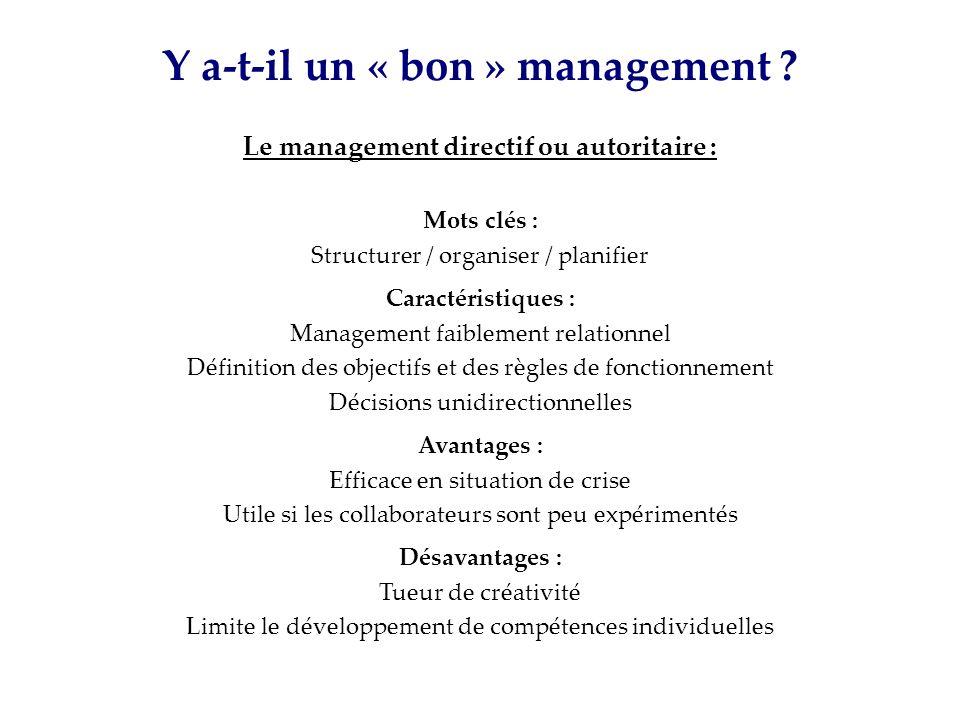 Y a-t-il un « bon » management ? Mots clés : Structurer / organiser / planifier Caractéristiques : Management faiblement relationnel Définition des ob