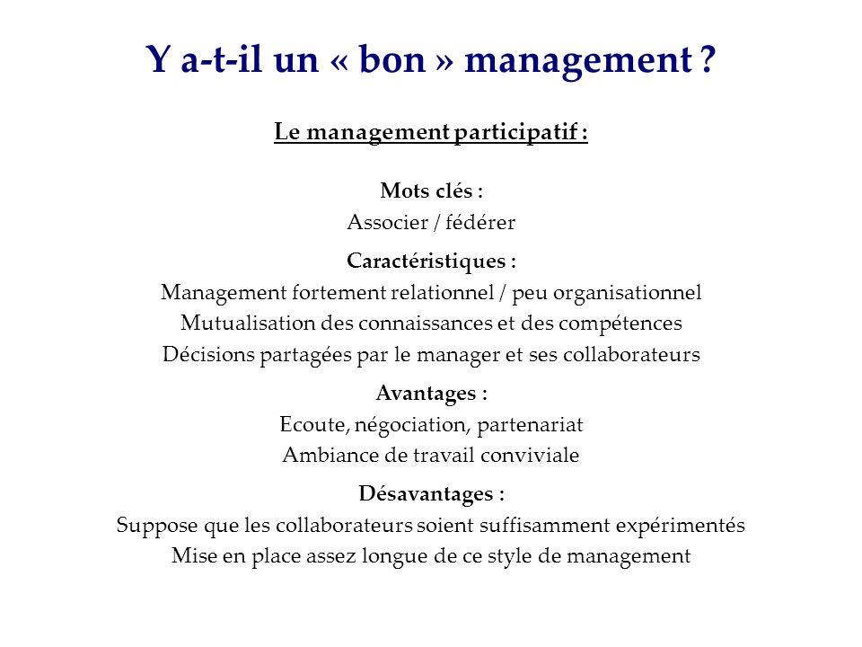 Y a-t-il un « bon » management ? Le management participatif : Mots clés : Associer / fédérer Caractéristiques : Management fortement relationnel / peu