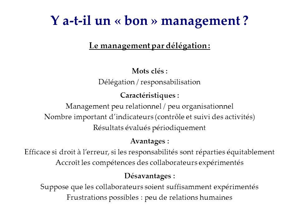 Y a-t-il un « bon » management ? Le management par délégation : Mots clés : Délégation / responsabilisation Caractéristiques : Management peu relation