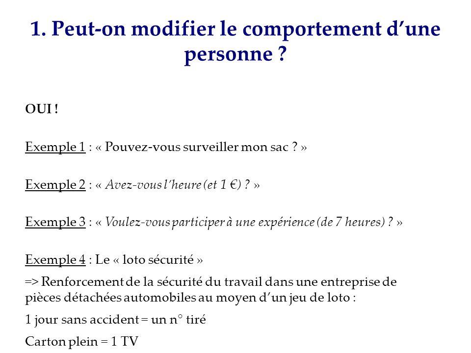 1. Peut-on modifier le comportement dune personne ? OUI ! Exemple 1 : « Pouvez-vous surveiller mon sac ? » Exemple 2 : « Avez-vous lheure (et 1 ) ? »