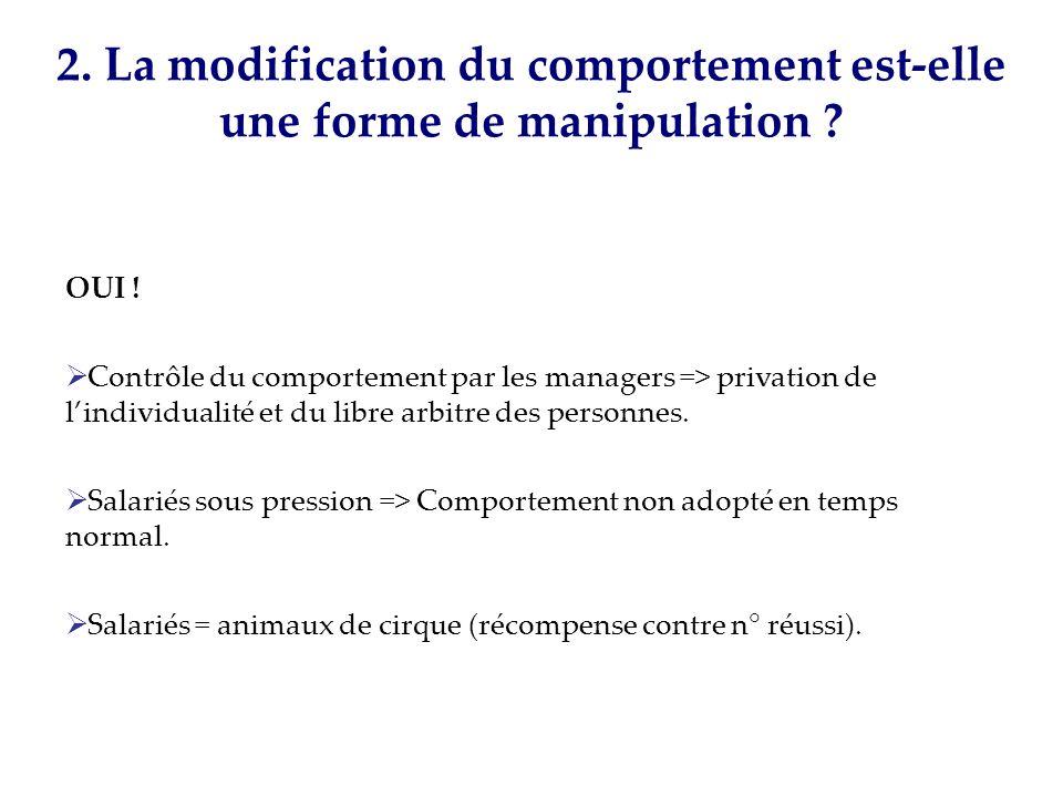 2. La modification du comportement est-elle une forme de manipulation ? OUI ! Contrôle du comportement par les managers => privation de lindividualité