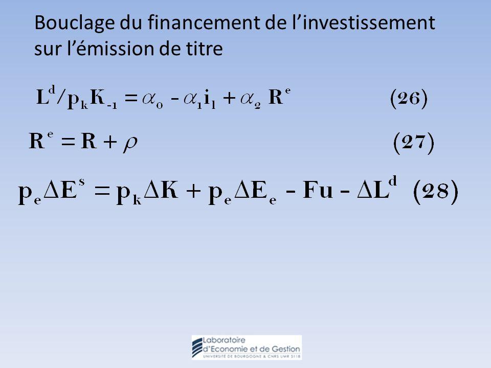 Bouclage du financement de linvestissement sur lémission de titre