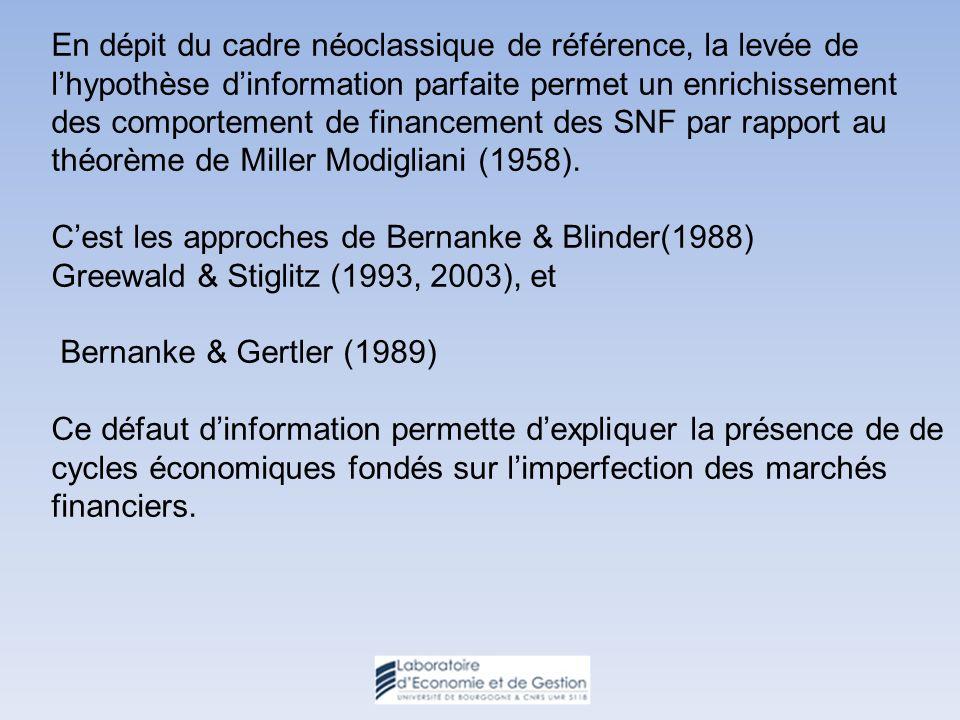 En dépit du cadre néoclassique de référence, la levée de lhypothèse dinformation parfaite permet un enrichissement des comportement de financement des SNF par rapport au théorème de Miller Modigliani (1958).
