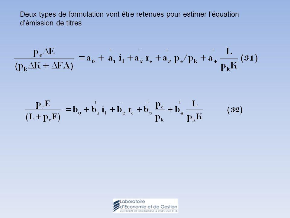 Deux types de formulation vont être retenues pour estimer léquation démission de titres