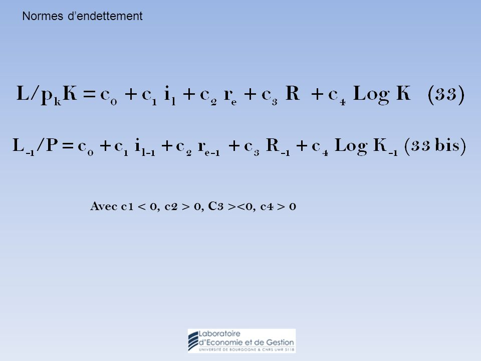 Normes dendettement Avec c1 0, C3 > 0