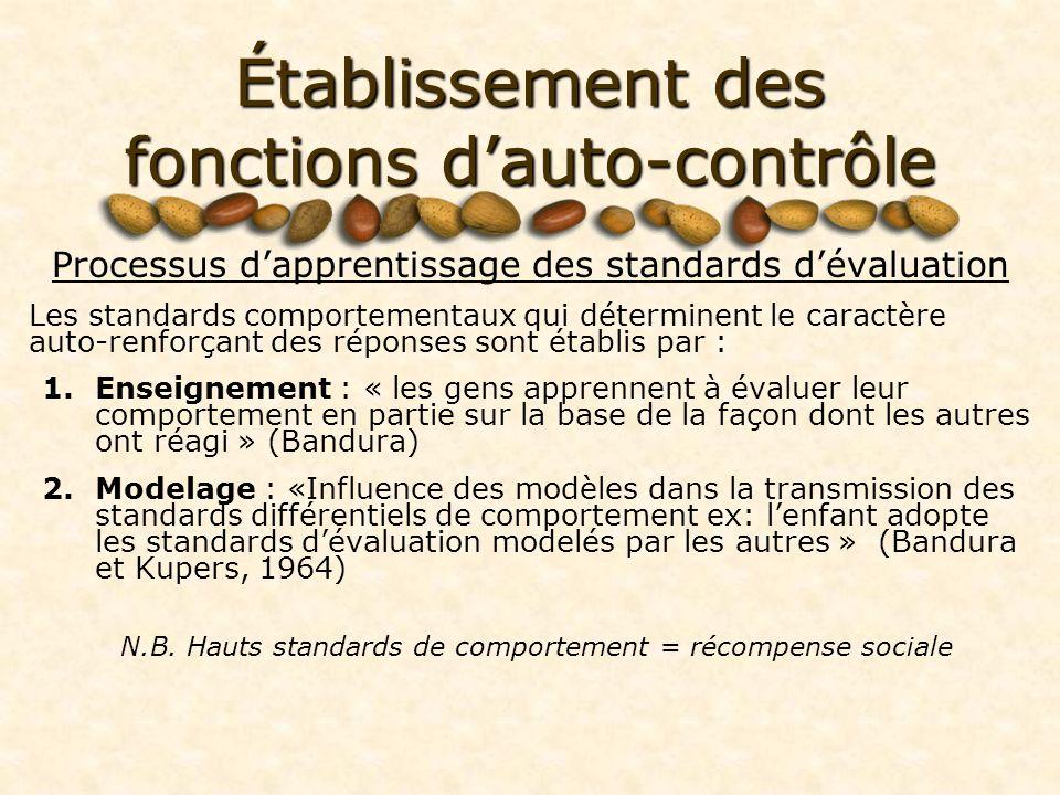 Établissement des fonctions dauto-contrôle Processus dapprentissage des standards dévaluation Les standards comportementaux qui déterminent le caractère auto-renforçant des réponses sont établis par : 1.Enseignement : « les gens apprennent à évaluer leur comportement en partie sur la base de la façon dont les autres ont réagi » (Bandura) 2.Modelage : «Influence des modèles dans la transmission des standards différentiels de comportement ex: lenfant adopte les standards dévaluation modelés par les autres » (Bandura et Kupers, 1964) N.B.