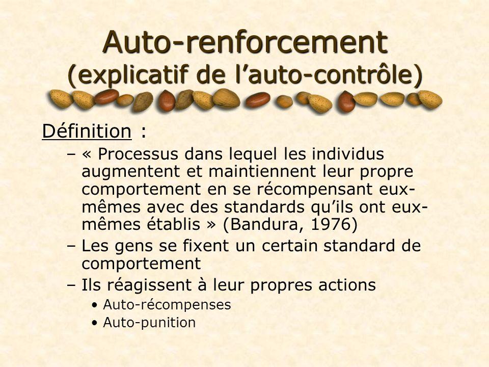 Auto-renforcement (explicatif de lauto-contrôle) Définition : –« Processus dans lequel les individus augmentent et maintiennent leur propre comporteme