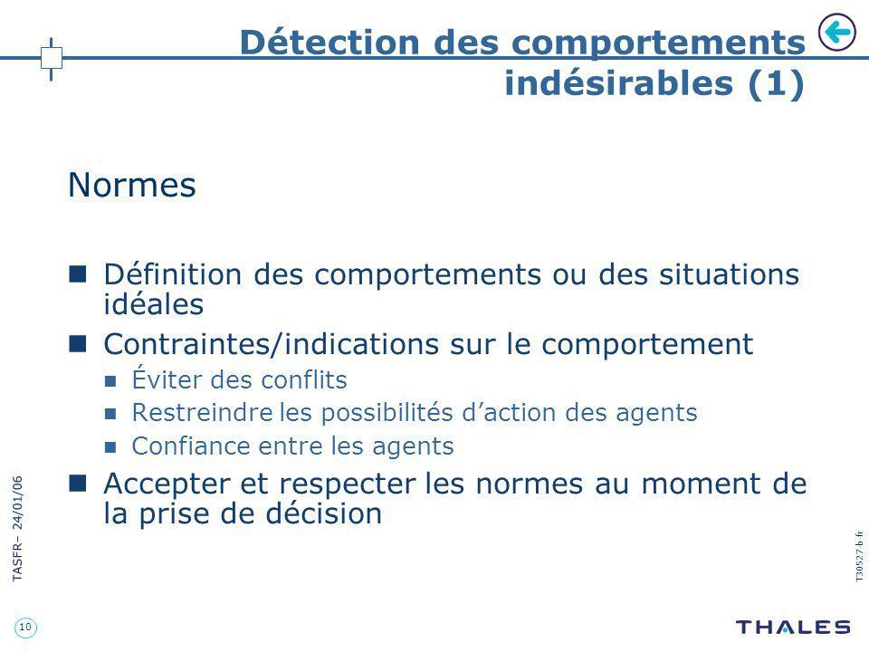 10 TASFR – 24/01/06 T30527-b-fr Détection des comportements indésirables (1) Normes Définition des comportements ou des situations idéales Contraintes