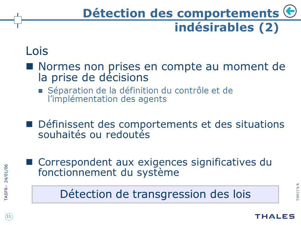 11 TASFR – 24/01/06 T30527-b-fr Détection des comportements indésirables (2) Lois Normes non prises en compte au moment de la prise de décisions Sépar