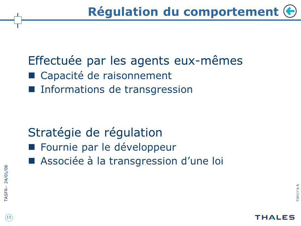13 TASFR – 24/01/06 T30527-b-fr Régulation du comportement Effectuée par les agents eux-mêmes Capacité de raisonnement Informations de transgression S