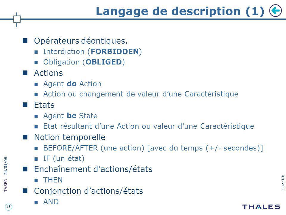 18 TASFR – 24/01/06 T30527-b-fr Langage de description (1) Opérateurs déontiques. Interdiction (FORBIDDEN) Obligation (OBLIGED) Actions Agent do Actio