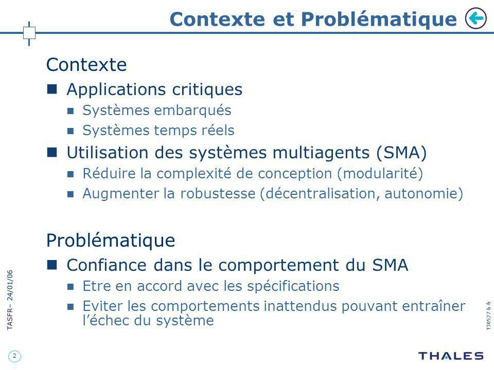 2 TASFR – 24/01/06 T30527-b-fr Contexte et Problématique Contexte Applications critiques Systèmes embarqués Systèmes temps réels Utilisation des systè