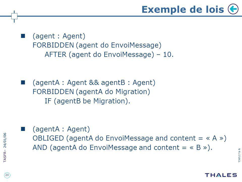 20 TASFR – 24/01/06 T30527-b-fr Exemple de lois (agent : Agent) FORBIDDEN (agent do EnvoiMessage) AFTER (agent do EnvoiMessage) – 10. (agentA : Agent