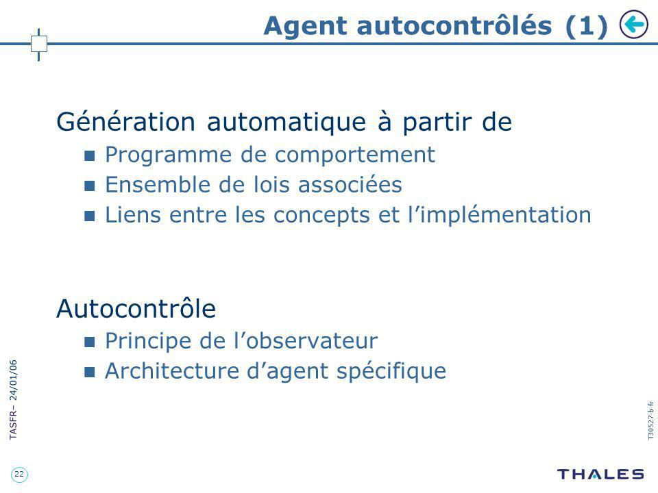 22 TASFR – 24/01/06 T30527-b-fr Agent autocontrôlés (1) Génération automatique à partir de Programme de comportement Ensemble de lois associées Liens