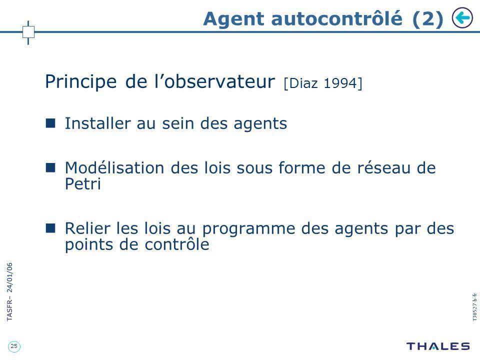 25 TASFR – 24/01/06 T30527-b-fr Agent autocontrôlé (2) Principe de lobservateur [Diaz 1994] Installer au sein des agents Modélisation des lois sous fo