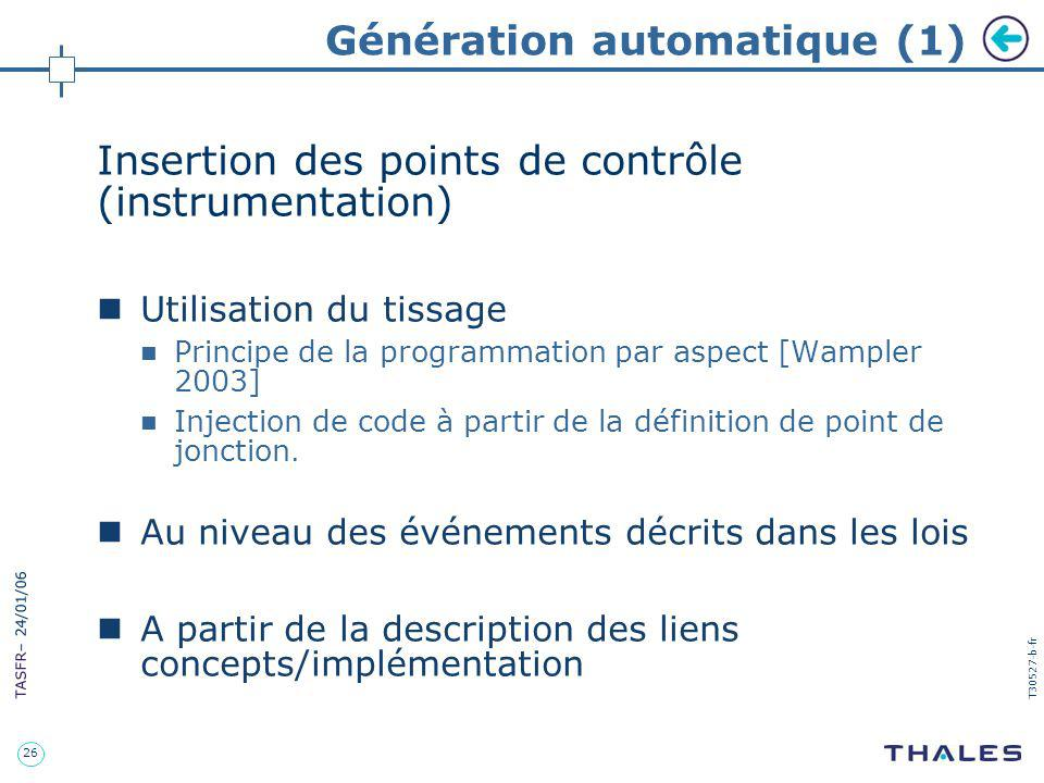 26 TASFR – 24/01/06 T30527-b-fr Génération automatique (1) Insertion des points de contrôle (instrumentation) Utilisation du tissage Principe de la pr