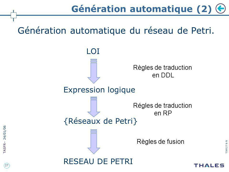 27 TASFR – 24/01/06 T30527-b-fr Génération automatique (2) Génération automatique du réseau de Petri. LOI Expression logique {Réseaux de Petri} RESEAU
