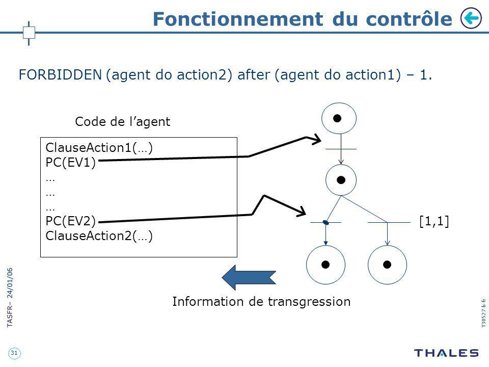 31 TASFR – 24/01/06 T30527-b-fr Fonctionnement du contrôle ClauseAction1(…) PC(EV1) … PC(EV2) ClauseAction2(…) Code de lagent [1,1] Information de tra