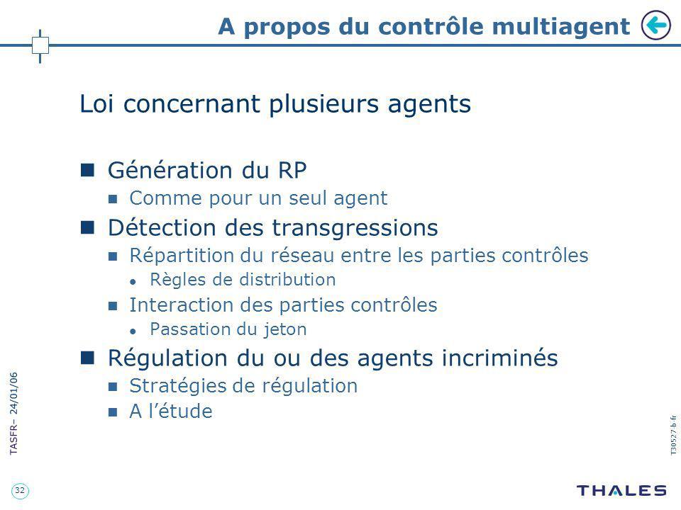 32 TASFR – 24/01/06 T30527-b-fr A propos du contrôle multiagent Loi concernant plusieurs agents Génération du RP Comme pour un seul agent Détection de