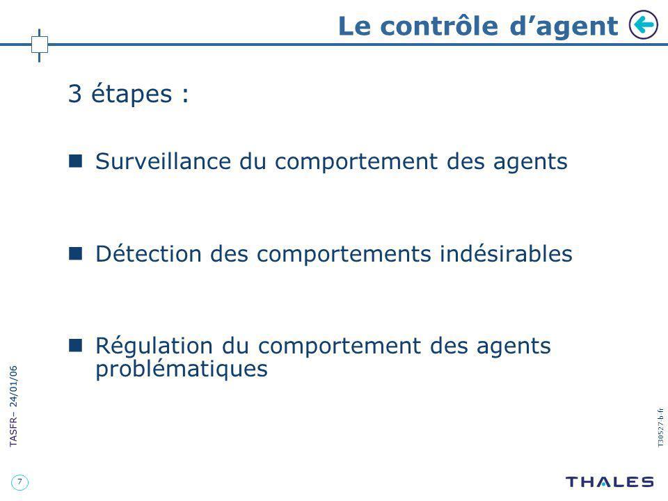 7 TASFR – 24/01/06 T30527-b-fr Le contrôle dagent 3 étapes : Surveillance du comportement des agents Détection des comportements indésirables Régulati