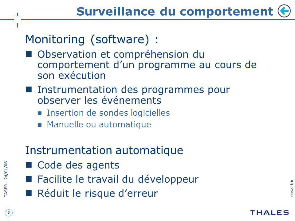 8 TASFR – 24/01/06 T30527-b-fr Surveillance du comportement Monitoring (software) : Observation et compréhension du comportement dun programme au cour