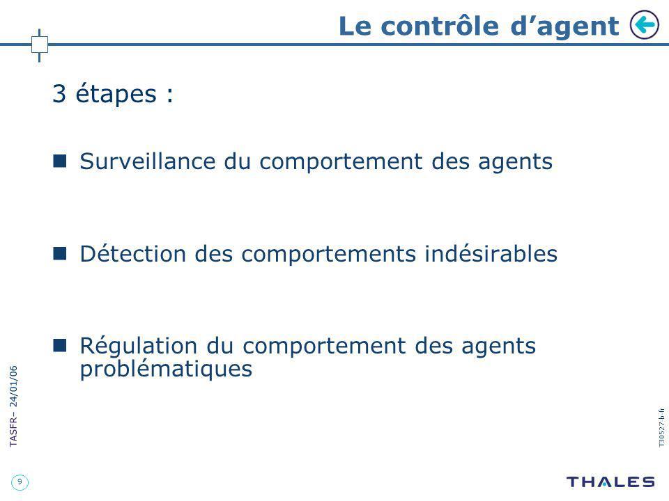9 TASFR – 24/01/06 T30527-b-fr Le contrôle dagent 3 étapes : Surveillance du comportement des agents Détection des comportements indésirables Régulati