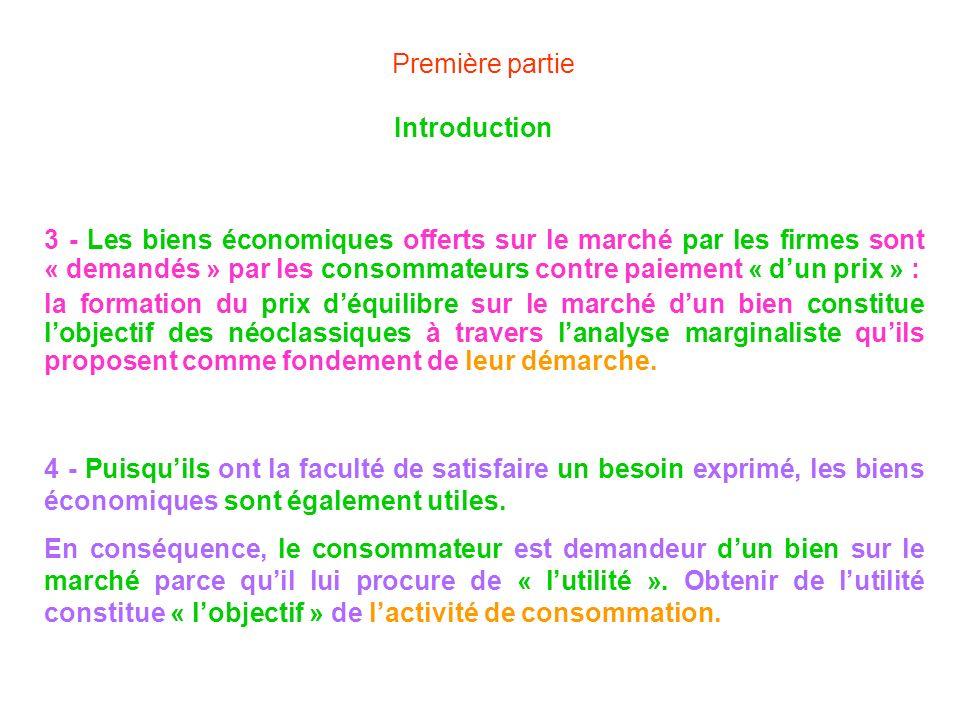 Première partie Introduction 3 - Les biens économiques offerts sur le marché par les firmes sont « demandés » par les consommateurs contre paiement «
