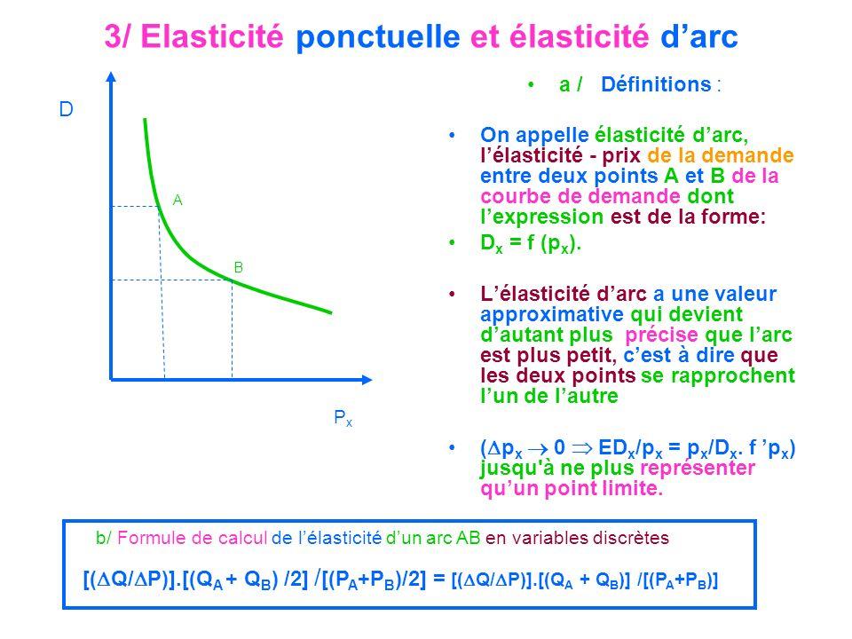 3/ Elasticité ponctuelle et élasticité darc a / Définitions : On appelle élasticité darc, lélasticité - prix de la demande entre deux points A et B de