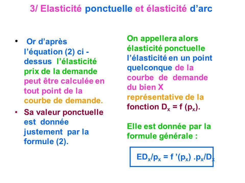 3/ Elasticité ponctuelle et élasticité darc Or daprès léquation (2) ci - dessus lélasticité prix de la demande peut être calculée en tout point de la