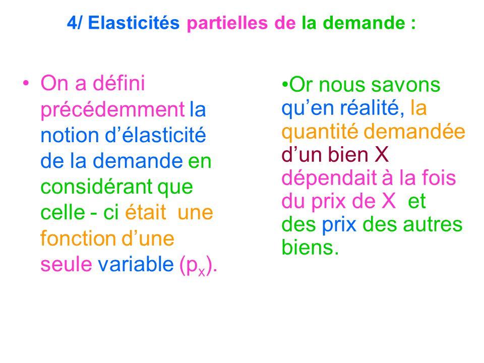 4/ Elasticités partielles de la demande : On a défini précédemment la notion délasticité de la demande en considérant que celle - ci était une fonctio