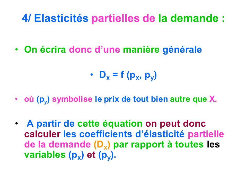 4/ Elasticités partielles de la demande : On écrira donc dune manière générale D x = f (p x, p y ) où (p y ) symbolise le prix de tout bien autre que