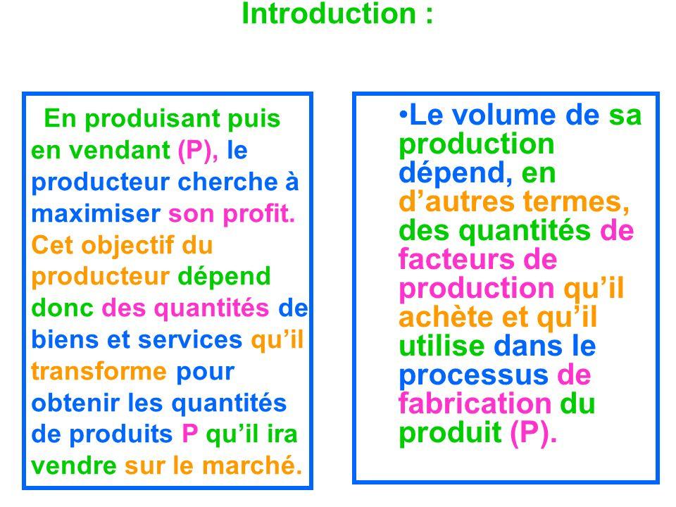 Introduction : En produisant puis en vendant (P), le producteur cherche à maximiser son profit. Cet objectif du producteur dépend donc des quantités d