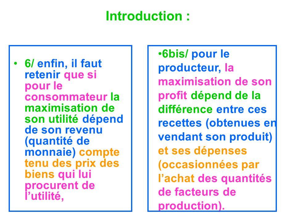 Introduction : 6/ enfin, il faut retenir que si pour le consommateur la maximisation de son utilité dépend de son revenu (quantité de monnaie) compte