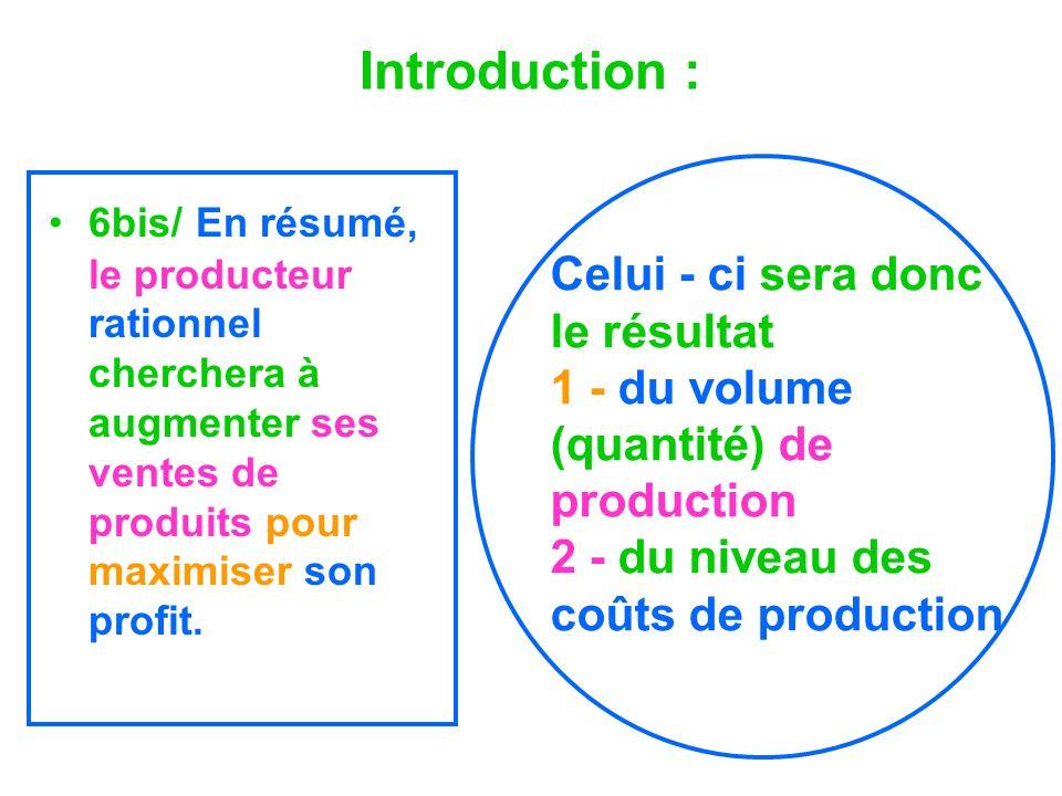 Introduction : 6bis/ En résumé, le producteur rationnel cherchera à augmenter ses ventes de produits pour maximiser son profit. Celui - ci sera donc l